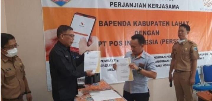 Penandatanganan Kerja Sama PT Pos Indonesia Dengan Bapenda Lahat