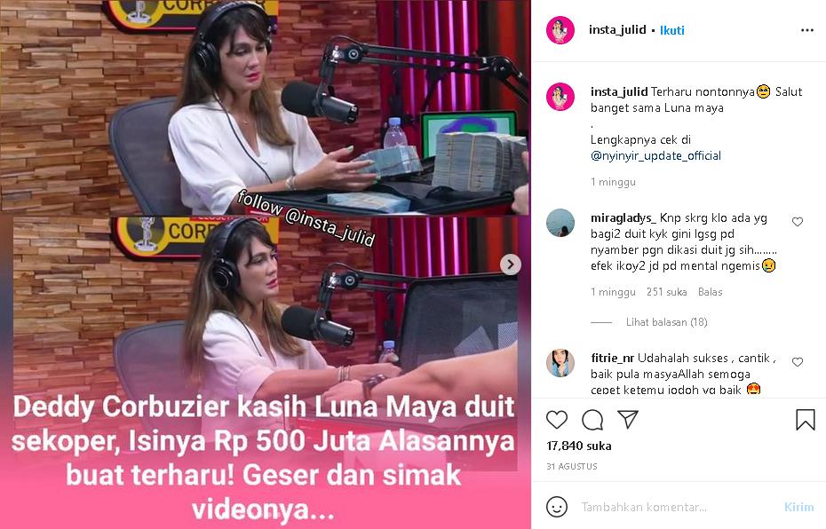 wooOW! Video Deddy Corbuzier kasih Luna Maya Duit Sekoper, Isinya Rp 500 Juta...