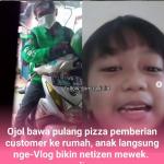 Video! Ojol Bawa Pulang Pizza Pemberiaan Customer, Anak Kegirangan bikin Netizen Mewek