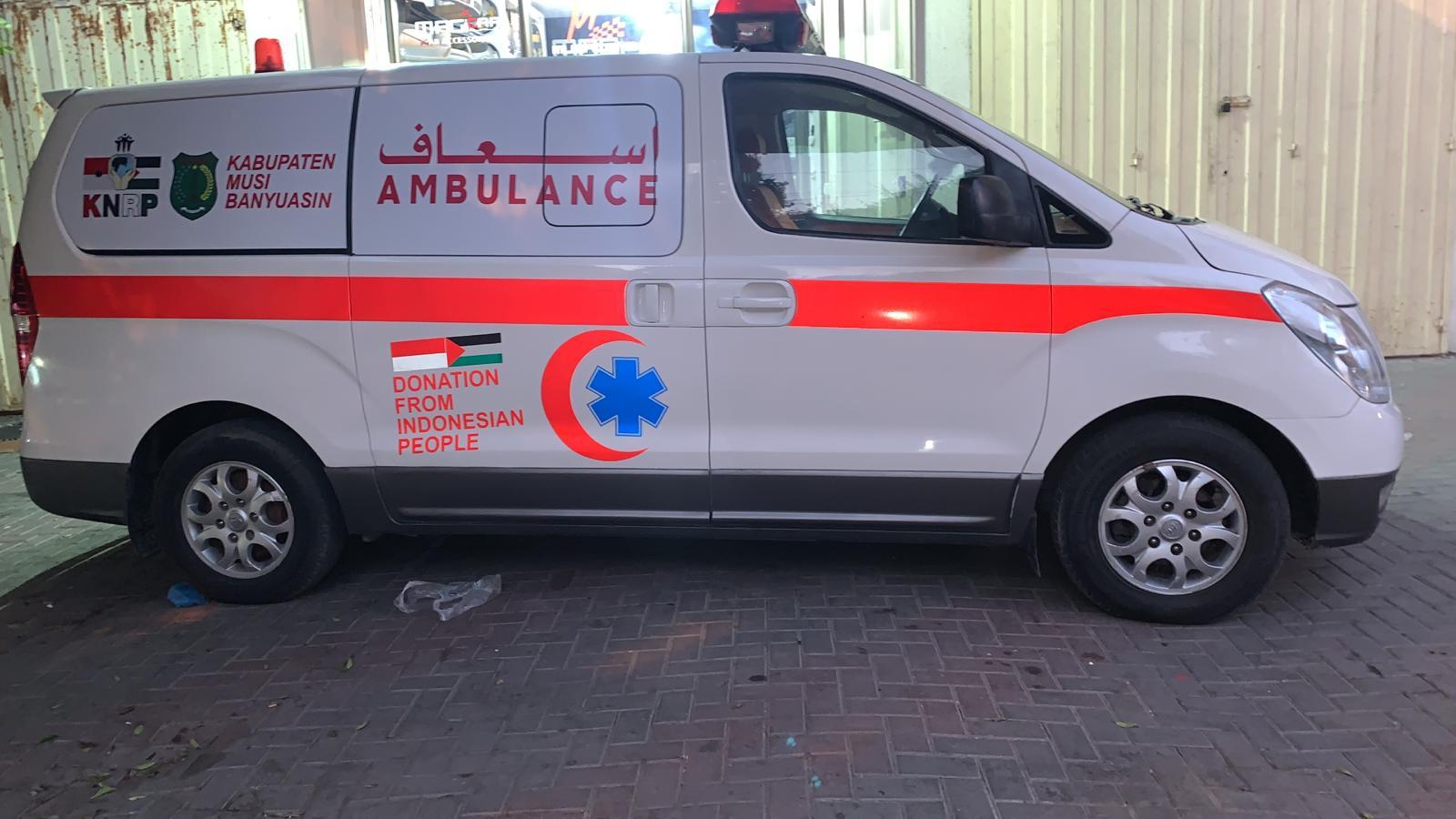 Ambulance Bantuan Pemkab Muba Mendarat di Gaza